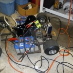 Hooking up the batteries and kart motor