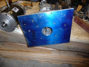 Adapter plate as it will be attached to the transmission