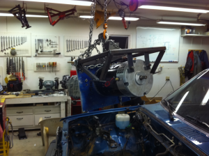 Removing motor & transmission assembly after motor frame is tack welded