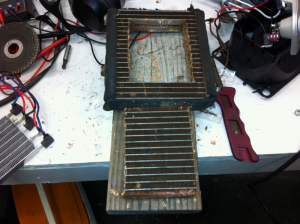 Original heater core with center cut out