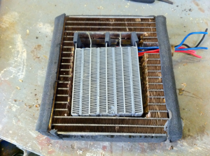 Test fitting the heater element with wire routing